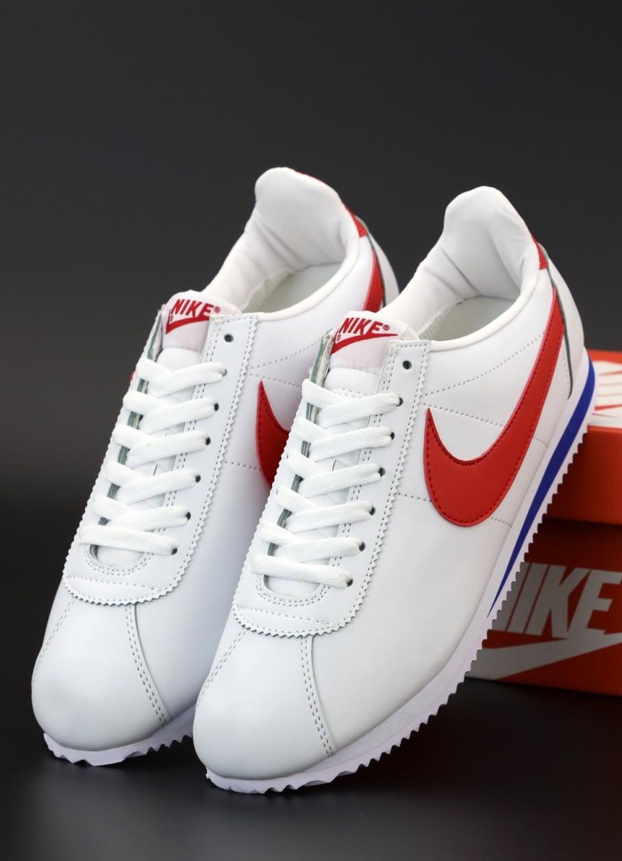 Мужские кроссовки Nike Cortez Basic Leather White (Найк Кортез)
