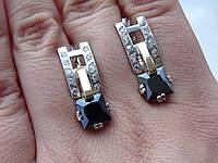 Срібні сережки з золотою пластиною і чорним Цирконієм, фото 1