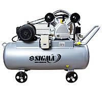 Компресор ремінною двоциліндровий 380В 4кВт 700л/хв 10бар 150л Sigma (7044631)