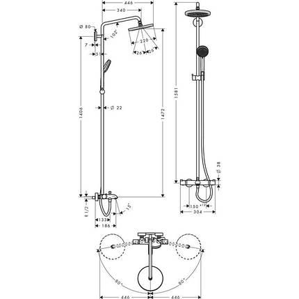 Душевая система Hansgrohe Croma 220 (27223000), фото 2