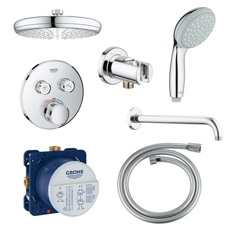 Душевая система скрытого монтажа с термостатом на 2 потребителя Grohe SmartControl 34614SC0