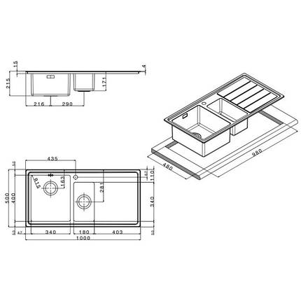 Кухонная мойка Apell Linear Plus LNP1002FRBC Brushed, фото 2
