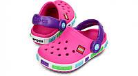 Кроксы детские Crocs Crocband LEGO розовые (J) разм., фото 1