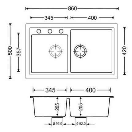 Кухонная мойка Apell Pietra Plus PTPL862GB Black granit, фото 2
