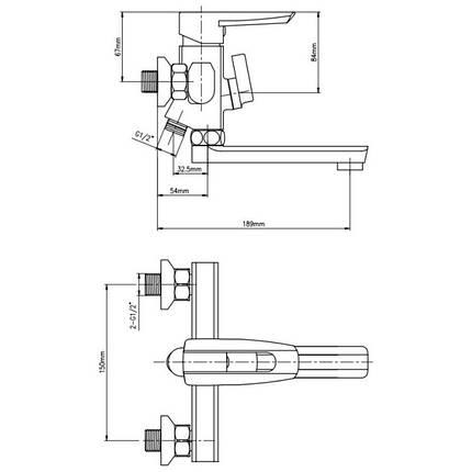 Смеситель для ванны GF (CRM)/S- 09-005BN, фото 2