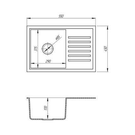 Кухонная мойка Fosto 5546 SGA-800 (FOS5546SGA800), фото 2