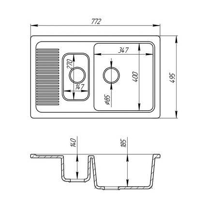 Кухонная мойка Fosto 7749 SGA-300 (FOS7749SGA300), фото 2