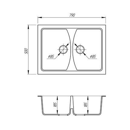 Кухонная мойка Fosto 7950 SGA-210 (FOS7950SGA210), фото 2