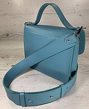 574 Сумка женская натуральная кожа, кросс-боди с широким ремнем бирюза бирюзовая морской волны голубая зеленая, фото 3