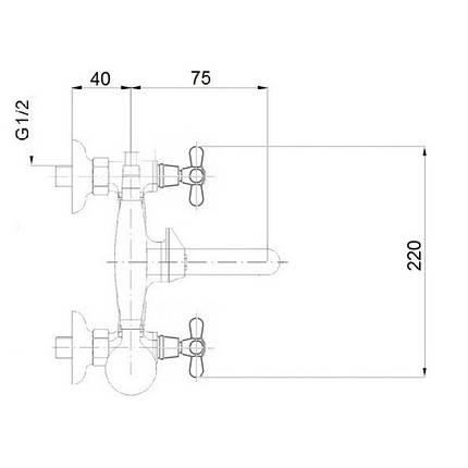 Смеситель для ванны Q-tap Liberty CRM 140-2, фото 2