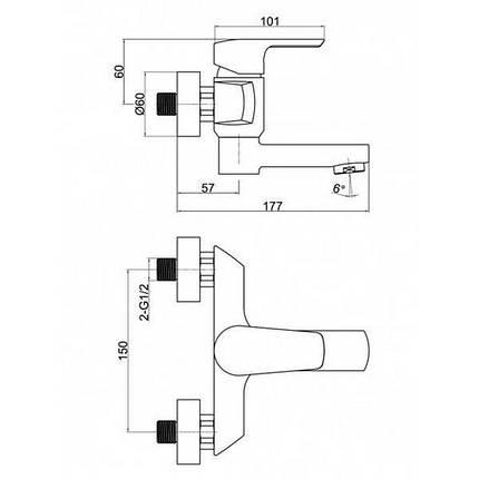 Смеситель для ванны Q-tap Tenso CRM 006AN, фото 2