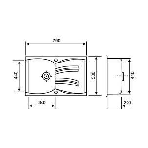 Кухонная мойка GF 790x500/200 WHI-01 (GFWHI01790500200), фото 2