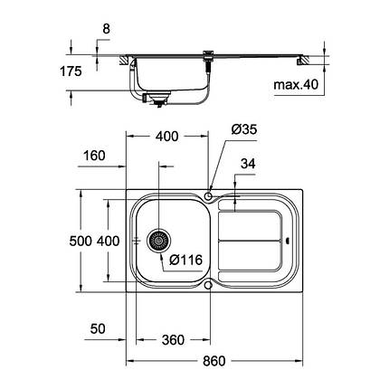 Кухонная мойка Grohe Sink K300 31563SD0, фото 2