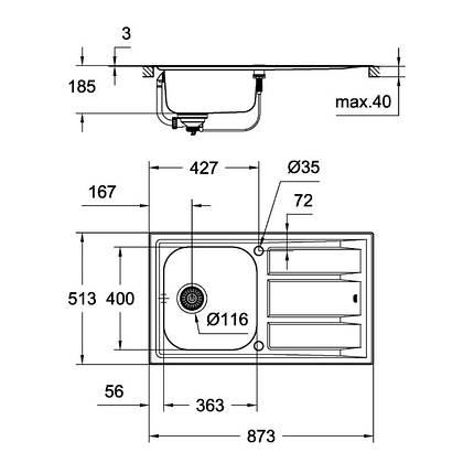 Кухонная мойка Grohe Sink K400+ 31568SD0, фото 2