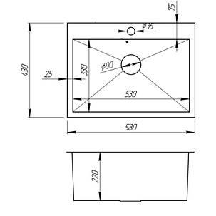 Кухонная мойка Imperial Handmade D5843BL 2.7/1.0 мм (IMPD5843BLPVDH12), фото 2