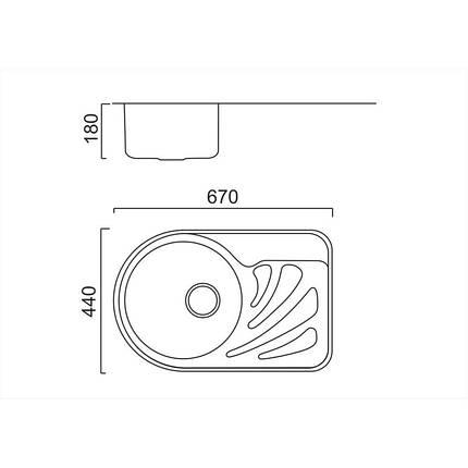 Кухонная мойка ULA 7111 L Micro Decor (ULA7111DEC08L), фото 2