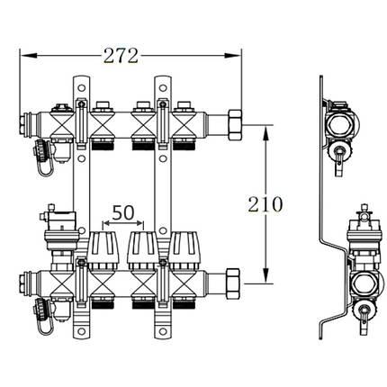 "Коллектор терморегулирующий SD Forte 1"" на 8 выходов, фото 2"