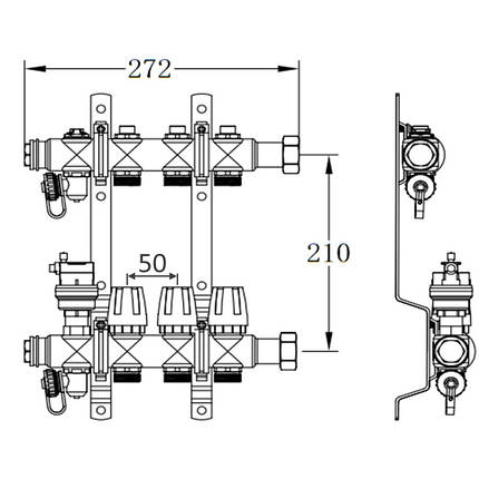 "Коллектор терморегулирующий SD Forte 1"" на 9 выходов, фото 2"