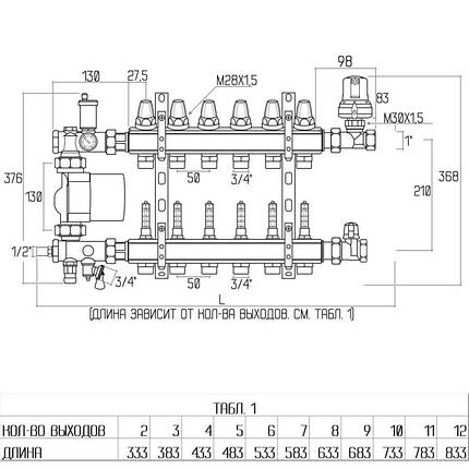 """Коллекторная группа Icma 1"""" 9 выходов, с расходомером №A3K013, фото 2"""
