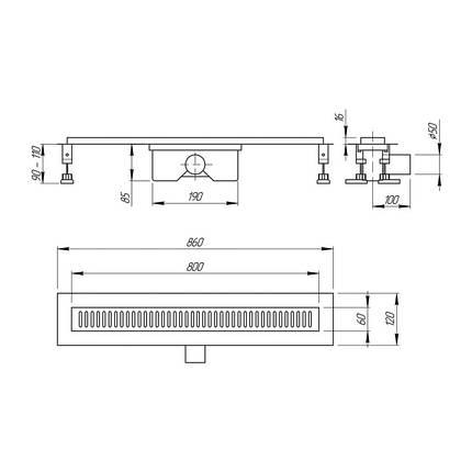 Линейный трап Q-tap с решеткой 800*860 CRM, фото 2
