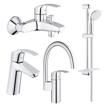 Набор смесителей для кухни, умывальника, ванны и душевая стойка M-Size Grohe Eurosmart 123248MK, фото 2