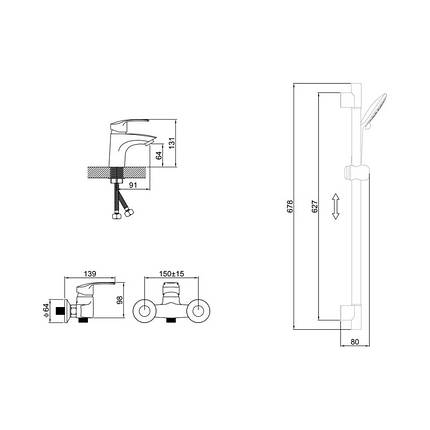 Набор смесителей и душевая стойка 3 в 1 Potato P9003, фото 2