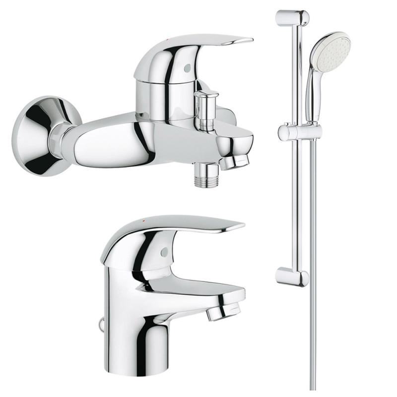 Набор смесителей для ваннойком. 3в1 Grohe Euroeco123226S