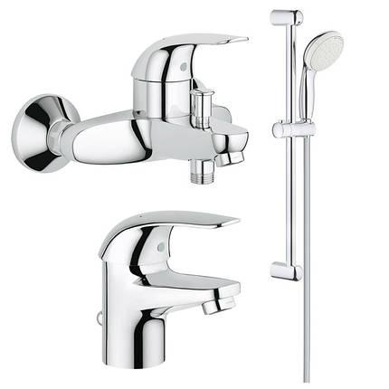 Набор смесителей для ваннойком. 3в1 Grohe Euroeco123226S, фото 2