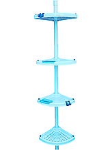 Полиця кутова для ванної телескопічною пластикової труба PrimaNova, Туреччина блакитна