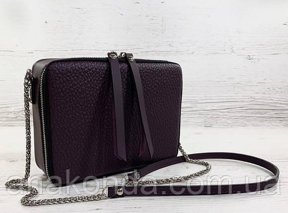 63 Натуральная кожа ультрамат, Сумка женская кросс-боди фиолетовая, лиловая, баклажановая кожаная сумка, фото 2