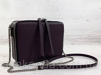 63 Натуральная кожа ультрамат, Сумка женская кросс-боди фиолетовая, лиловая, баклажановая кожаная сумка