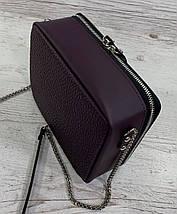 63 Натуральная кожа ультрамат, Сумка женская кросс-боди фиолетовая, лиловая, баклажановая кожаная сумка, фото 3