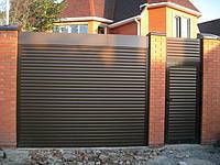 Защитная ролета для въезда во двор Алютех ( ALUTECH ) AG/77 размер 1800x1800мм с приводом AN-Motors NK1/15-16