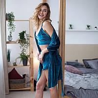 Женская пижама с бархата. Шорти + топ + халат. Изумруд