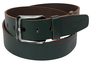 Мужской кожаный ремень под джинсы Skipper 1191-45 зеленый ДхШ: 129х4,5 см.
