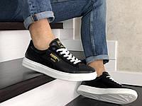 Мужские черно-белые кроссовки Puma Suede (демисезонные, натуральная кожа)