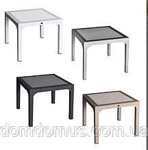 """Стол """"COMFORT"""" 90*90*74 см, Irak Plastik, искусственный ротанг со стеклом, Турция"""