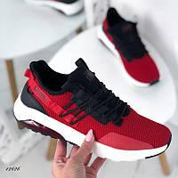Мужские кроссовки текстиль красный+черный 12626