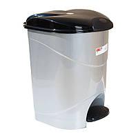 Ведро для мусора с педалью Irak Plastik Bella №3 30л серый металлик
