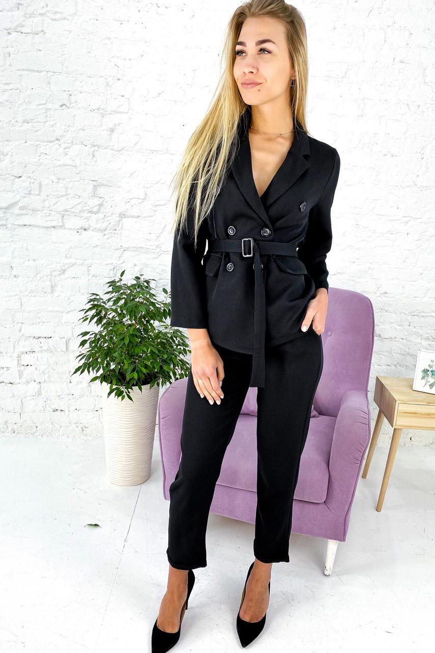 Костюм однотонный укороченные брюки пиджак с поясом  Feel - черный цвет, S (есть размеры)