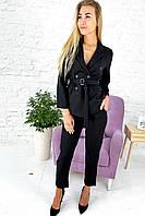 Костюм однотонный укороченные брюки пиджак с поясом  Feel - черный цвет, S (есть размеры), фото 1