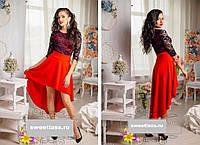Платье женское нарядное красивое шлейф с гипюром ассиметрия 42 44 46 48 50 52 54 Р