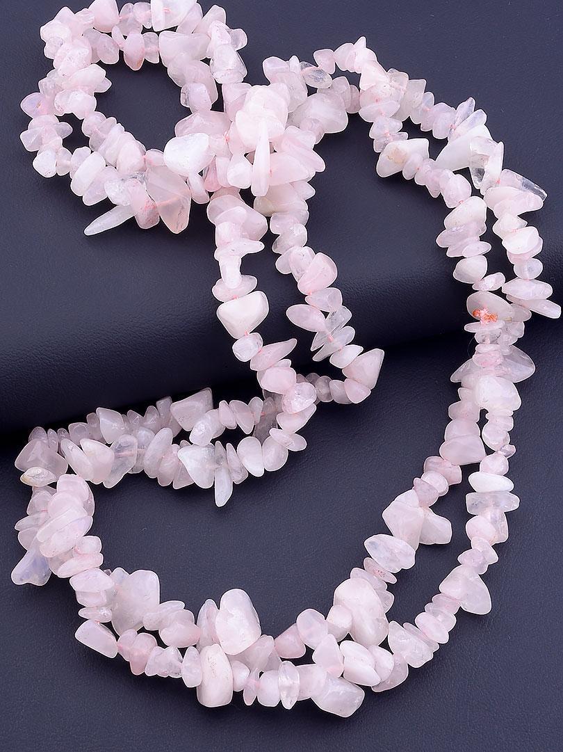 Бусы женские SUNSTONES из натуральных камней Розовый кварц 120 см