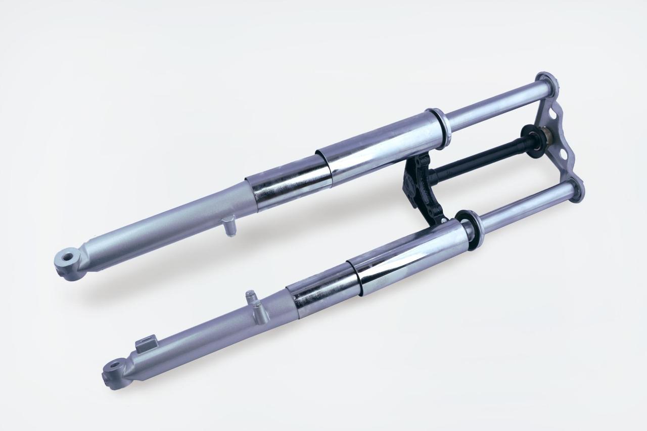 Вилка передняя гидравлическая на Мопед Дельта (Deltа) (d-25мм) (внешняя пружина) EVO
