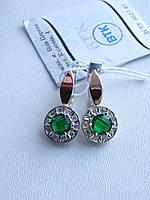 Срібні сережки з золотою пластиною з зеленим фианитом, фото 1