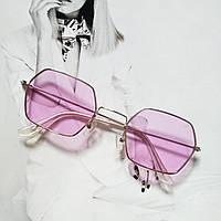 Солнцезащитные многоугольные очки  с цветной линзой сиреневый