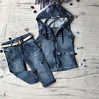 Летний джинсовый костюм на мальчика 41. Размер 8 лет, фото 1