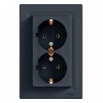 Розетка подвійна з заземленням (Антрацит) ASFORA SCHNEIDER ELECTRIC EPH9900171