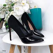Туфли женские лодочки эко-замша+эко-лак чёрные 38 размер