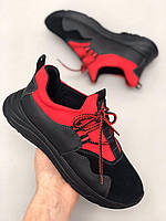 Кроссовки детские подростковые черные с красным
